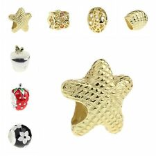 925 Sterling Silver Charm Strawberry Apple Seashell Fit 3mm European Bracelet