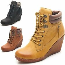 New Ladies High Top Trainers Lace Up Army Military Ankle Stylish Boots Size 3-8