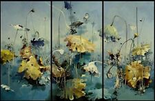 HD Print Oil painting Picture Impression water lilies on canvas set of 3 W018