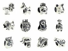 925 Sterling Silver Charm Lion/ Giraffe/ Pig /Deer Fit 3mm European Bracelet