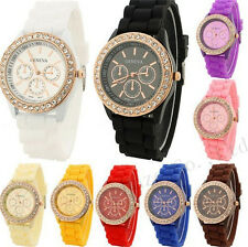 Ladies Jelly Diamond Wrist Watch Women Girls Kids SILICONE Quartz Watch