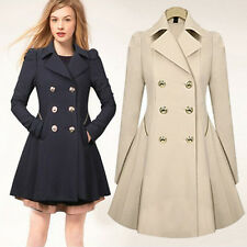 Womens Ladies  Fashion Double-breasted Slim Long Outwear Trench Coat Size 2-16