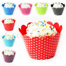 24 Polka Dot Cupcake Wrappers Wraps Collars - Wedding, Birthday, Baby Shower