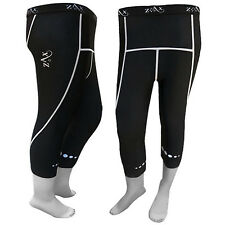 LADIES Compression Tights 3/4 Running Gym Fitness Trousers Tights Black