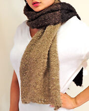 Be Sweet  Mohair Boucle Trio Scarf Wrap Brown  fair trade hand knit South Africa