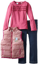 Baby Togs Baby Girls' 3 Piece Pink Puffy Vest Long Sleeve Shirt Jeans Pants Set