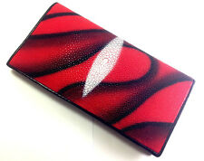 NEW! 100% GENUINE STINGRAY LEATHER CLUTCH WALLET,BI-FOLD CRIMSON-RED BLACK WAVE