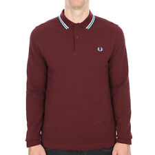 New Mens Fred Perry  Slim Fit Long Sleeve Tipped Polo - Mahogany  Long Sleeve