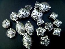 Thai Karen Hill Tribe handmade 925 Sterling Silver Beads biconvex