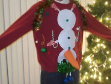 "Ugly Tacky Christmas Sweatshirt Naughty Snowman"" w/ Blue Ball"