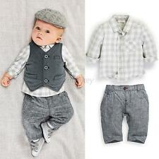 Newborn Baby Boy Gray Waistcoat + Pants + Shirts Clothes Sets Suit 3PCS Tops T81