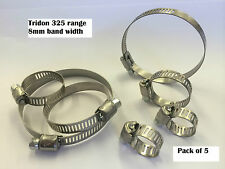 PK OF 5 TRIDON HOSE CLIPS 325 S/S 8mm BAND PLATED CARBON SCREW **CHOOSE SIZE**