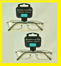 2 Pairs Clear Bifocal Reading Glasses by Magnivision / Foster Grant Spring Hinge