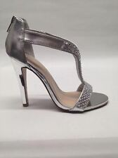 NEW Womens Delicious Verla WEDDING PAGEANT Chrome Silver High Heel Sandals Shoes