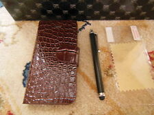 Iphone 5 5s lpu crocodile leather wallet case brown screen protector stylus pen