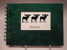 Rustic Lodge Sueded Cover CABIN GUEST BOOK with Bull Moose Pattern