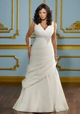 White Ivory Plus Size Wedding Dress Wedding Gown Custom 12 14 16 18 20 22 24 26