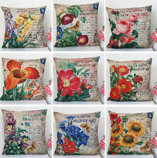 "European Flowers Plants Cotton Linen Pillow Case Sofa Cushion Cover Sham 18""x18"""