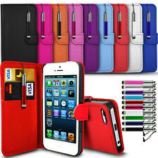 New Leather Flip Wallet Case Cover For Samsung Galaxy Smart Phone & Touch Pen