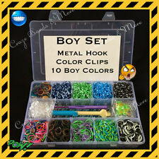 3000 Boy Color Rubber Bands Gift Set fit Rainbow Loom Metal Hook Organizer Case