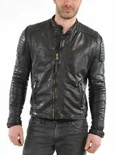 New Men Motorcycle Black Lambskin Leather Jacket Coat Size XS S M L XL MJ528