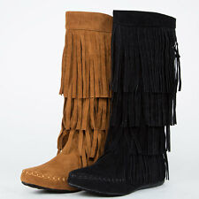 Women Knee Mid Calf High Faux Suede Moccasin Fringe Tassel Layer Flat Comfy Boot