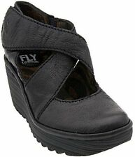 Fly london Yogo Black Leather Womens New Cross Bar Wedge Shoes Boots
