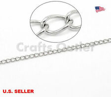 Wholesale Stainless Steel Link-Soldered Curb Chain Necklace Findings 3.5x2.5mm