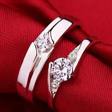 Men Women Plated Silver White Gemstones Wedding Couple Rings Jewelry Sz 4.8-9.3
