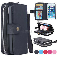 Zipper Purse Pouch Leather Wristlet Wallet Card Slot Phone Case For iPhone 5S SE