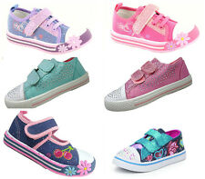Girls Canvas Trainers Pumps Plimsole Summer Size Strap Age Chatterbox Blue Pink