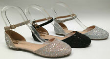 NEW Lena2 Women WEDDING PAGEANT Glitter Rhinestone Closed Toe Flats Ankle Shoes