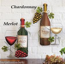 Merlot Chardonnay Wine Bottle Grapes Metal Wall Art Sculpture Kitchen Bar Decor