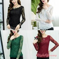 Women Long Sheer Sleeve Floral Lace Crochet T Shirt Slim Tops Casual Blouse XXL
