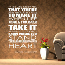 Olly Murs wall art sticker Hand On Heart Lyrics decal music quote l28