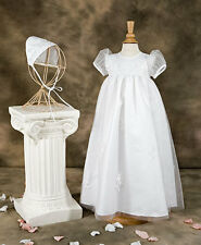 NEW Girl's Formal Christening Gown English Net Overlay w Puff Sleeves 0-3,12,18