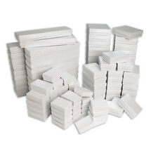New Lot of 5 20 50 100 White Swirl Cotton Filled Jewelry Gift Boxes Choose Size
