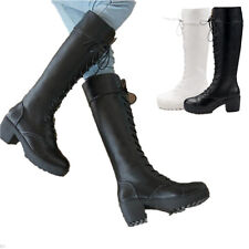 Womens Lace Up Knight New Low Heel Platform Knee High Military Punk Combat Boots