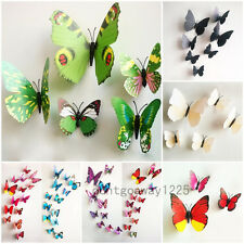 12pc 3D Papillon Stickers Muraux Decal Accueil DIY Décoration Butterfly Chambre