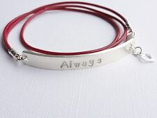 ALWAYS - Personalised Sterling Silver & Leather Bracelet with HEART Charm