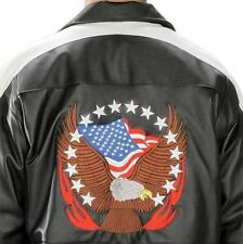 USA Leather Mens American Stars Black Bomber Winter Leather Jacket (S-5XL)