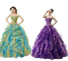 2015 Beaded Quinceanera Party Pageant Prom Formal Evening Ball Dress Gown