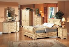 B1008 5 Pcs Providence Sleigh Bedroom Set  (Antique Beige w/ Marble Top)