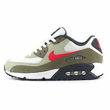 Mens Nike Air Max 90 Essential White/Brown/University Red Trainers (537384 119)