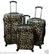 4 Wheels Set Of 3 Suitcase Hard Shell Leopard Printed Cabin Carry On Hand Travel