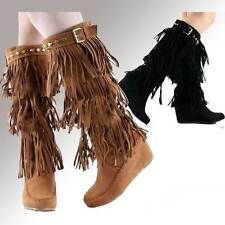 Women's High Western Style Fringe Boots Shoes Black and Brown
