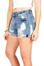 Womens Mid Rise Cutoff Jeans Distressed  Ripped Torn Casual Cuffed Denim Shorts
