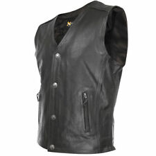 Xelement Mens Black Gun Pocket Cruiser Leather Motorcycle Vest (S-3XL)