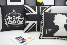 Vintage British Black Union Jack Flag/Queen/Crown Cotton Cushion Pillow Case