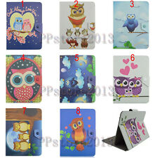 "Universal Fold Folio Cute OWL Cartoon Leather Case Cover For 7"" 8"" 10.1"" Tablet"